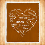 Personalized Family Names Heart Pattern Brown-White Christmas Blanket-Moon & Back