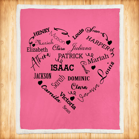 Personalized Family Names Heart Pattern Pink-Black Christmas Blanket-Moon & Back
