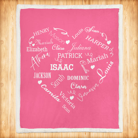 Personalized Family Names Heart Pattern Pink-White Christmas Blanket-Moon & Back