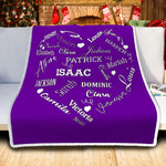 Personalized Family Names Heart Pattern Purple-White Christmas Blanket-Moon & Back