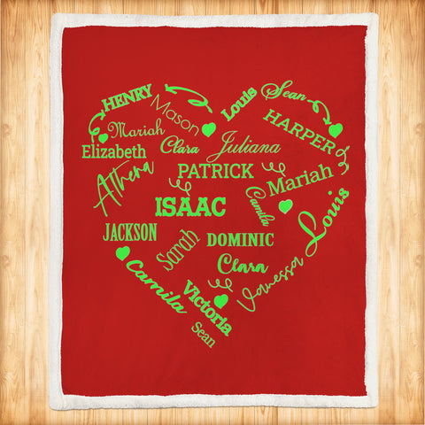 Personalized Family Names Heart Pattern Red-Green Christmas Blanket-Moon & Back