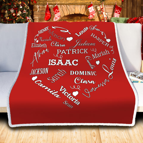 Personalized Family Names Heart Pattern Red-White Christmas Blanket-Moon & Back
