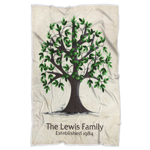 "Personalized Blanket - Family Tree-Sherpa Blanket-wc-fulfillment-Youth 60""x36""-Moon & Back"