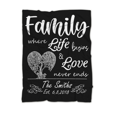 Personalized Family Tree Blanket, Gift For Families-Moon & Back