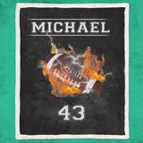 Personalized Blanket - Football On Fire-Moon & Back-Youth 60in x 36in (152cm x 91cm)-Moon & Back