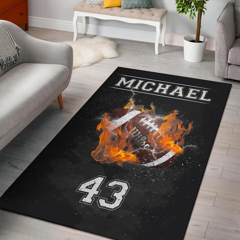 Personalized Football On Fire Rug, Soccer Lovers Gift-Moon & Back