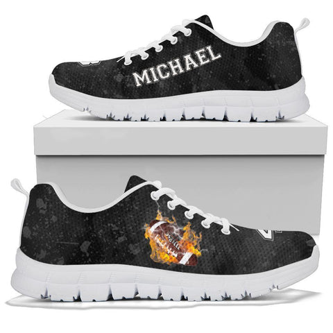 Personalized Football On Fire Sneaker, Soccer Lovers Gift-Moon & Back