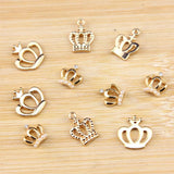 Personalized Gold Crown Charms-Moon & Back-Design A-Moon & Back