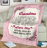 Personalized Grandma Blanket- Nana Blanket - Gift for Grandmother, Gift for Nana, I'm Proud Grandma Blanket-Moon & Back