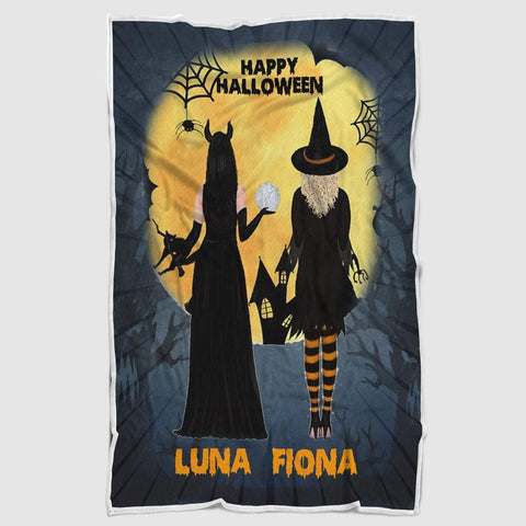 Personalized Happy Halloween Blanket,Halloween Witches Blanket,Custom Gift For Best Friend- ECSET2027-Moon & Back