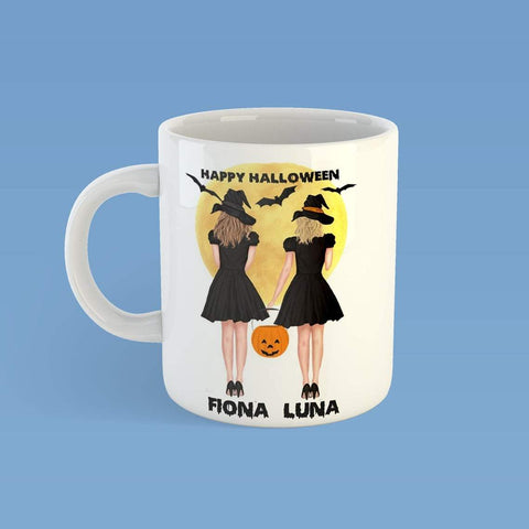 Personalized Happy Halloween Mug,Halloween Witch And Pumpkins, Dog Lovers,Custom Gift For Best Friend- ECSET2005-Moon & Back