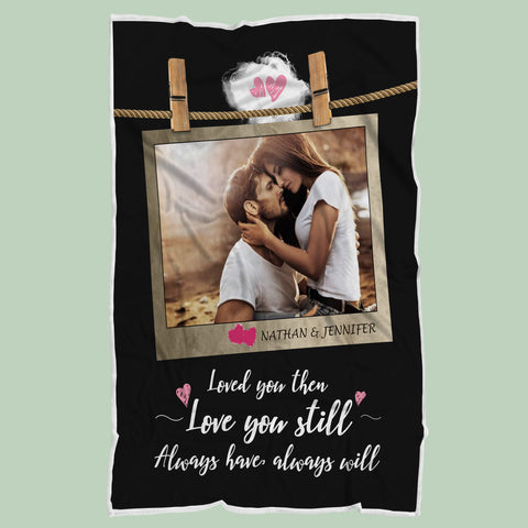 Personalized I Love You Always Anniversary Blanket, Lovers Gift-Moon & Back