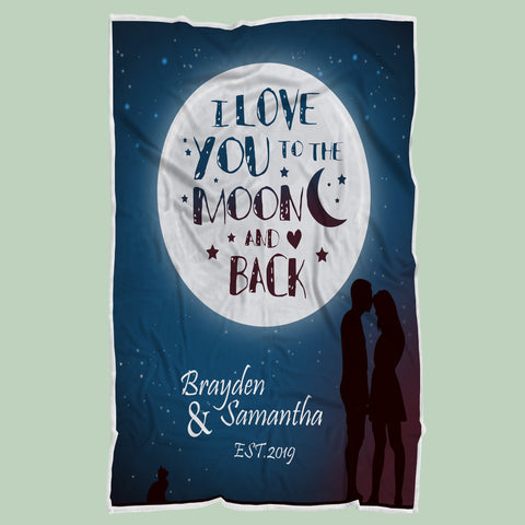 Personalized I Love You To The Moon And Back Blanket-Moon & Back