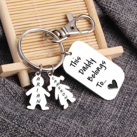 Personalized Key Chain, Custom Daddy Key Chains, Personalised Daddy Keyring, Custom Names, Gift for Daddy, Fathers Day Gift-Moon & Back-2 KIDS-Moon & Back