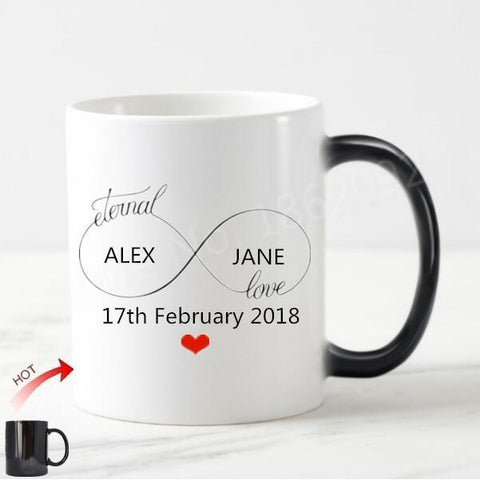 Personalized Love Couple Wedding Coffee Mug Or Tea Cup-Moon & Back-Moon & Back
