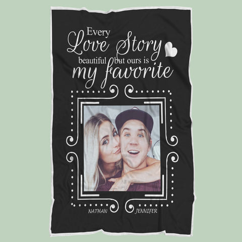 Personalized Love Story Anniversary Blanket, Custom Lovers Gift-Moon & Back
