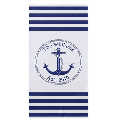 Personalized Mediterranean Nautical Anchor Family Beach Towel-Moon & Back-35x75cm (14x30inches) Face Towel-Moon & Back