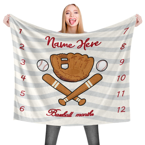 Personalized Milestone Baby Name Blanket - Baseball Sport Concept - DG6951-Moon & Back