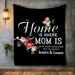 Personalized Mom Sherpa Blanket, Blanket for Mom, Blankets for Mothers, Family Blanket - Mother's Day Gift, Floral Blanket for Mom-Moon & Back