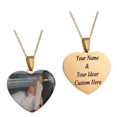 Personalized Name and Photo Pendant Necklace - Heart-Moon & Back-Gold Printed Name and Photo-24Inch(60cm)-Moon & Back