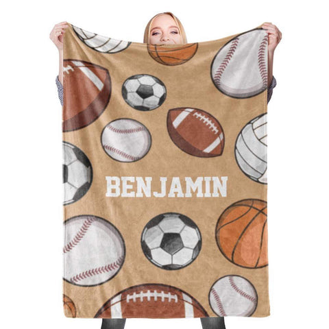Personalized Name Blanket - Baseball Basketball Football Soccer Sport Baby Kid Adult Size-Moon & Back