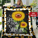 Personalized Name Couple Blanket, Sunflower Blanket, Valentine's Day Romantic Gift, Birthday Gift-Moon & Back