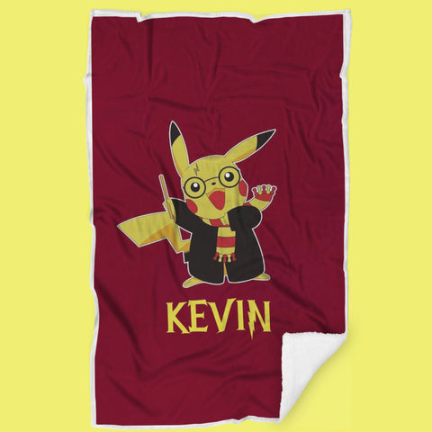 Personalized Name Harry Pottery Hogwarts Pikachu Pokemon Baby & Adult Blanket-Moon & Back