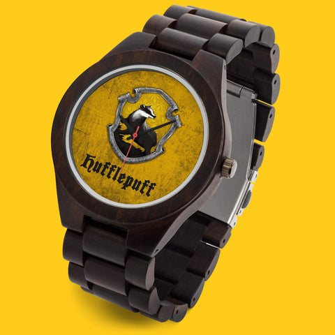 Personalized Name Hufflepuff Harry Pottery Hogwarts Wooden Watch-Moon & Back