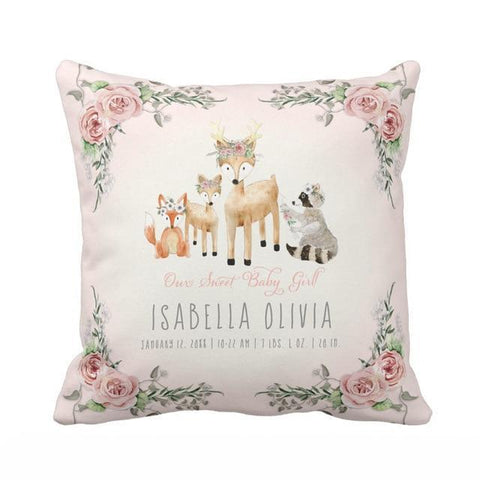 Personalized Name Watercolor Throw Pillow Cover-Moon & Back-40 x 40 CM-Color1-Moon & Back