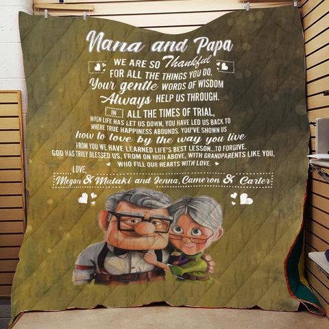 Personalized Nana And Papa Blanket, Custom Grandparents Gift-Moon & Back