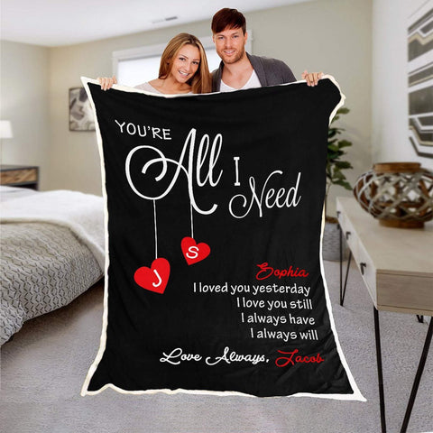 Personalized Photo Couple's Anniversary Blanket, You're All I need Blanket, Anniversary Blanket for Couples-Moon & Back