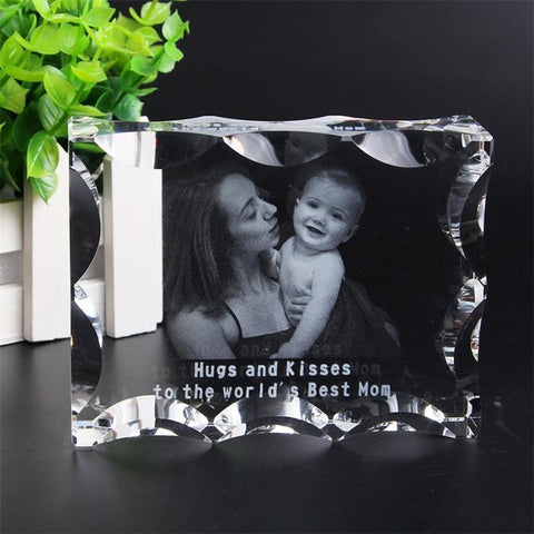 Personalized Photo Crystal Frame-Moon & Back-Moon & Back