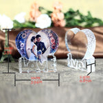 Personalized Photo Crystal Heart in Shape Of Love-Moon & Back-Moon & Back