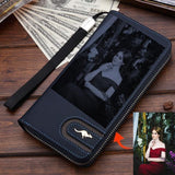Personalized Photo Engraved Lux Wallet-Moon & Back-Blue-Moon & Back