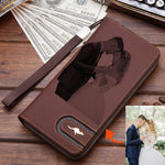 Personalized Photo Engraved Lux Wallet-Moon & Back-Brown-Moon & Back