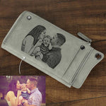 Personalized Photo Engraved Wallet-Moon & Back-Gray-Moon & Back
