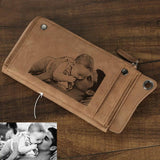 Personalized Photo Engraved Wallet-Moon & Back-Brown-Moon & Back