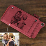 Personalized Photo Engraved Wallet-Moon & Back-Red-Moon & Back