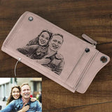Personalized Photo Engraved Wallet-Moon & Back-Pink-Moon & Back