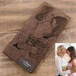 Personalized Photo Engraved Wallet-Moon & Back-Blue-Moon & Back