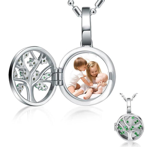 Personalized Photo Necklace - Life Tree - 925 Silver-Moon & Back-Moon & Back