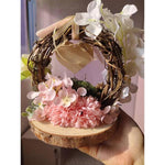 Personalized Rattan Arch Pink Flower Photo Engagement Wedding Decoration-Moon & Back-Multicolor-Custom version-Moon & Back