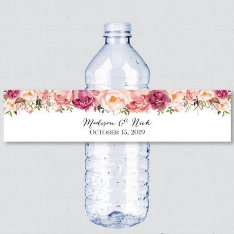 Personalized Red Pink Flower Water Bottle Label-Moon & Back-Moon & Back