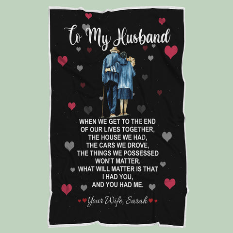 Personalized Wife to Husband Blanket, Custom Couple's Anniversary Gift-Moon & Back