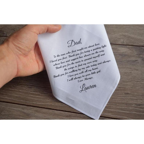 Personalized Wedding Dads Handkerchief-Moon & Back-Moon & Back