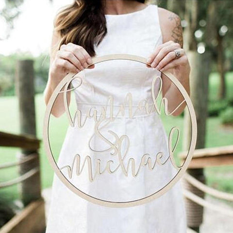Personalized Wedding Wooden Round Name Sign-Moon & Back-bronze-20cm (7.87 Inches )-Moon & Back