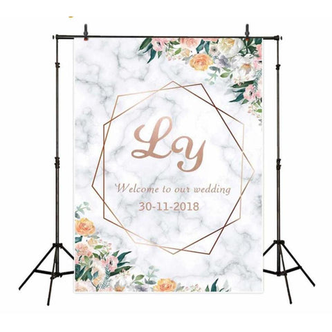 Personalized White Marble and Rose Gold Frame Wedding Backdrop-Moon & Back-Econ Vinyl 200X200CM-Moon & Back