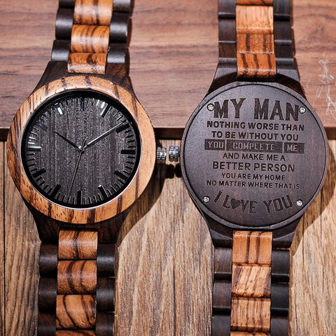 Personalized Wooden Men's Watch-Moon & Back-Moon & Back