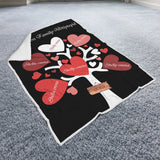 Personalized Your Family Members Blanket, Too Many Hearts, Valentine's Day, Anniversary, Lovers Romantic Gift-Moon & Back