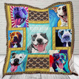 Pit Bull Quilt Blanket, Gifts for Pitbull Lovers, Dog Lovers Blankets, Pitbull Gifts-Moon & Back